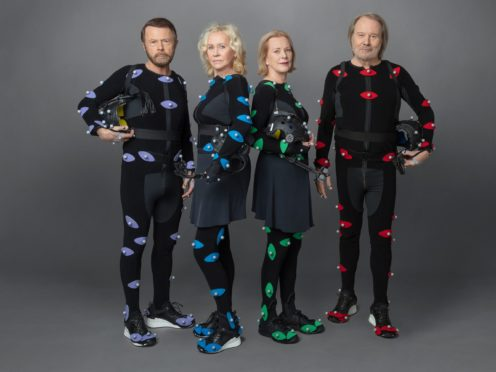 Abba wear motion capture suits (Baillie Walsh/PA)