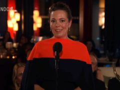 """In this video grab issued Sunday, Sept. 19, 2021, by the Television Academy, Olivia Colman accepts the award for outstanding lead actress in a drama series for """"The Crown"""" during the Primetime Emmy Awards. (Television Academy via AP)"""