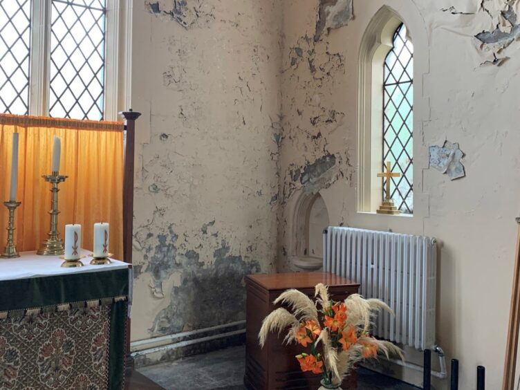 The mouldy walls at St Simon and St Jude Church (Phil Owen/PA)
