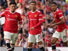Jadon Sancho, Cristiano Ronaldo and Raphael Varane have joined Manchester United this summer (Martin Rickett/PA).