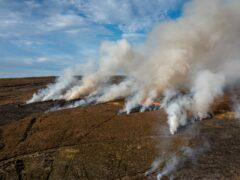Peatland Burning on North York Moors UK (Steve Morgan/Greenpeace/PA)