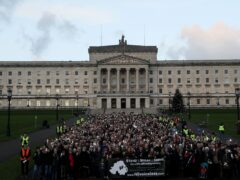 Anti-abortion protesters stage a silent demonstration at Stormont against the recent liberalisation of abortion laws in Northern Ireland (Brian Lawless/PA)