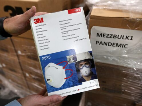 A box of face masks at the NHS' National Procurement Warehouse at Canderside, Larkhall (Andrew Milligan/PA)