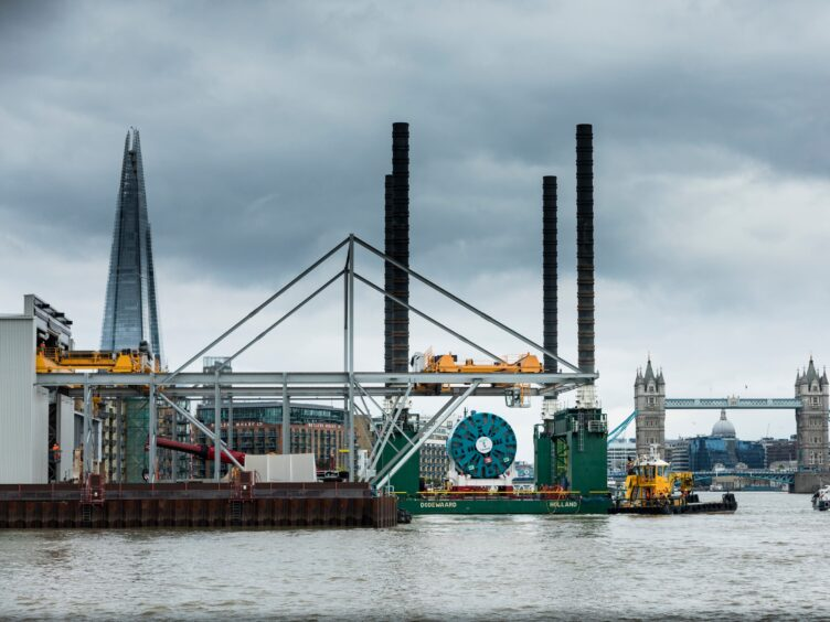 TBM Selina, a giant tunnel boring machine (TBM) being delivered to Tideway's Chambers Wharf site in Bermondsey, London, it's one of six TBMs which are being used to create London's super sewer (Tideway/PA)