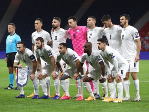 Israel line up before facing Scotland in the UEFA Euro 2020 play-off semi-final (Andrew Milligan/PA)