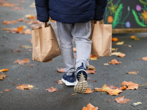 A child collects packed lunch bags from the Watering Can, in Greenbank Park, Liverpool, which is providing free school meals for children over the half-term holidays (PA)