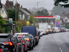 Motorists queue for fuel in Ashford, Kent (Gareth Fuller/PA)