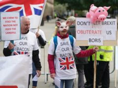 Pig farmers protesting outside the Conservative Party Conference in Manchester (Stefan Rousseau/PA)