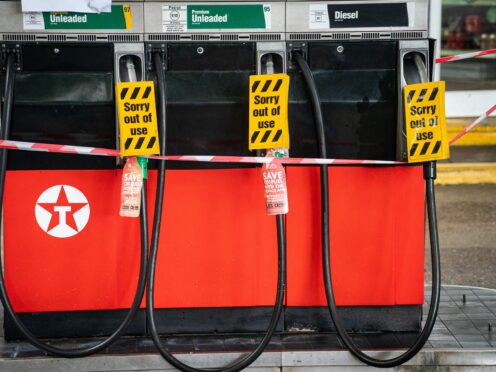 Fuel supplies at petrol stations in London and the South East remain lower than the rest of Britain (Dominic Lipinski/PA)