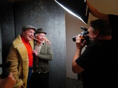 Rankin takes a portrait picture of Paul Whitehouse (centre) and Tom Bennett in character as Grandad and Del Boy from the Only Fools and Horses musical (Victoria Jones/PA)
