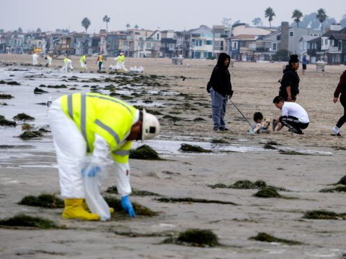 Workers in protective suits clean the contaminated beach after an oil spill in Newport Beach, California (AP)