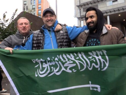 Newcastle fans celebrated news of the club's Saudi takeover (Tom Wilkinson/PA)