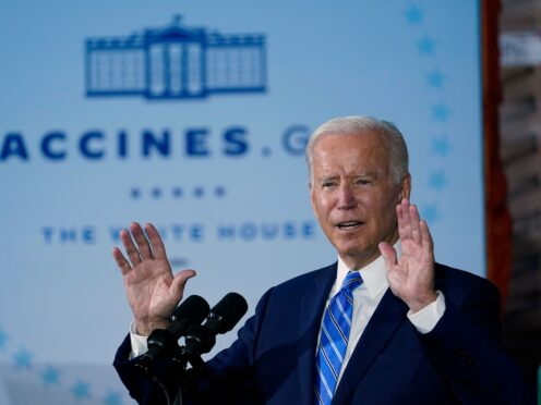 President Joe Biden speaks about Covid-19 vaccinations after touring a construction site in Illinois on Thursday (Susan Walsh/AP)