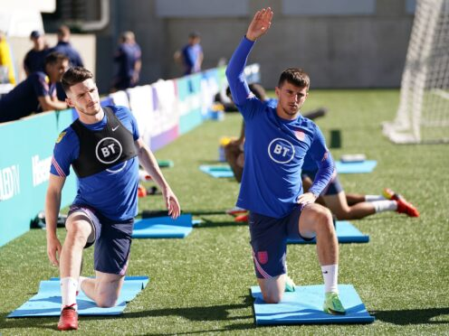 England's Declan Rice and Mason Mount during a training session at Estadi Nacional, Andorra (Nick Potts/PA)