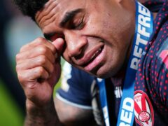 St Helens' Kevin Naiqama breaks down in tears after the Betfred Super League Grand Final (Zac Goodwin/PA)