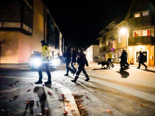 Police at the scene after an attack in Kongsberg, Norway (Hakon Mosvold Larsen/AP)