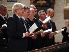 Boris Johnson, Sir Keir Starmer and SNP Westminster leader Ian Blackford attend a service to honour Sir David Amess (Jonathan Brady/PA)