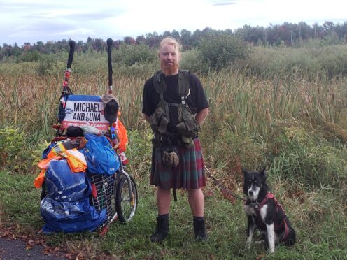 Michael Yellowlees and his dog Luna are trekking across Canada to raise money for Trees for Life (picture: Trees for Life)
