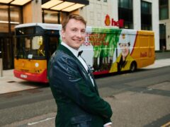 Joe Lycett stages a stunt outside Shell's HQ in London (Rob Parfitt/Channel 4/PA)