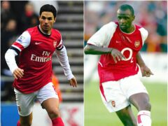 Both Mikel Arteta and Patrick Vieira captained Arsenal during their playing careers (Anna Gowthorpe/PA/Tom Hevezi/PA)