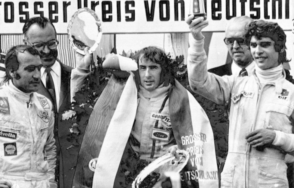 Jackie Stewart won the German Grand Prix at Nuerburgring racing circuit, Aug. 1, 1971 (Pic: Press Association)