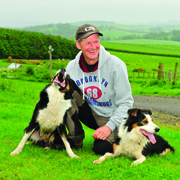 Scottish team member Mosse Magnusson with his sheepdogs