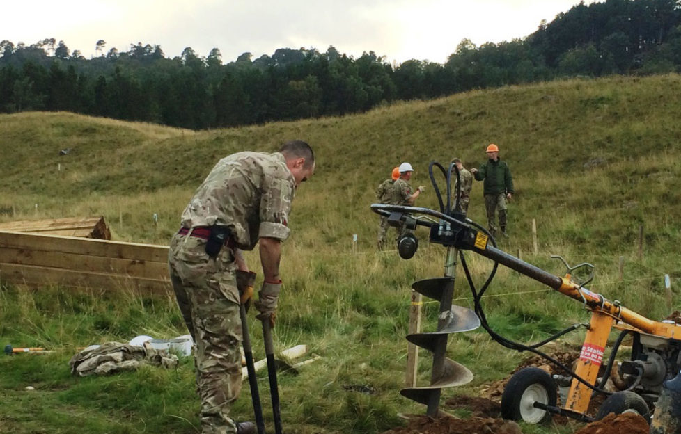 The military get to work on creating the new polar bear enclosure at The Highland Wildlife Park