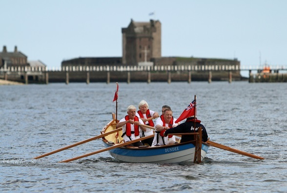 Out on the Tay for the Brochty's maiden voyage. Photo by Dougie Nicolson