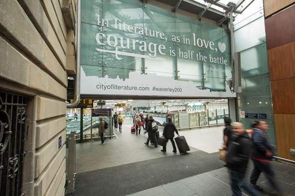 A quote from Sir Walter Scott at Waverley Station, part of the Edinburgh City of Literature's Great Scott! campaign c Chris Scott