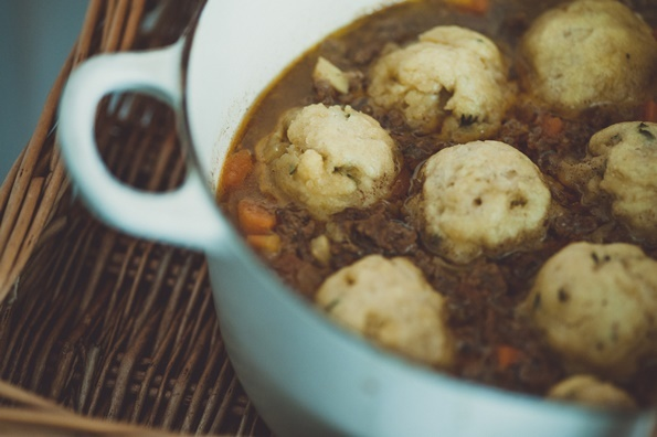 Carina Contini's mince and doughballs