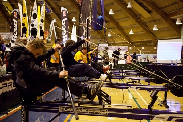 An indoor kayak race at Scotland's Festival of Paddlesport
