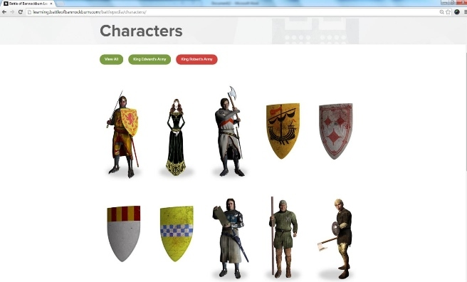 One of the pages from the Battle of Bannockburn Experience's award-winning new website