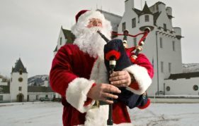Santa's showing off his bagpipe expertise at Blair Castle this week