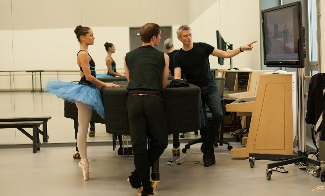 Chris, Sophie and artistic director Christopher Hampson review the dancers' moves, which are filmed, on a large screen. Photo by Upfront Photography