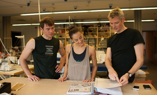 Scottish Ballet's artistic director Christopher Hampson shows Chris and Sophie the designs for their Nutcracker costumes. Photo by Upfront Photography