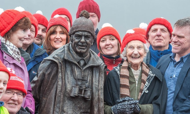 Rhona Weir and sculptor Sean Hedges-Quinn (far right) surrounded by well-wishers at the statue's unveiling. Photo by Paul Saunders Photography