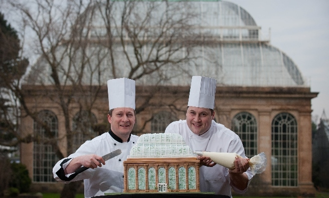 Chefs terry and Ben Harrison put the finishing touches to a cake modelled on the Glass House at Edinburgh's Royal Botanic Gardens. Photo by Gareth Easton
