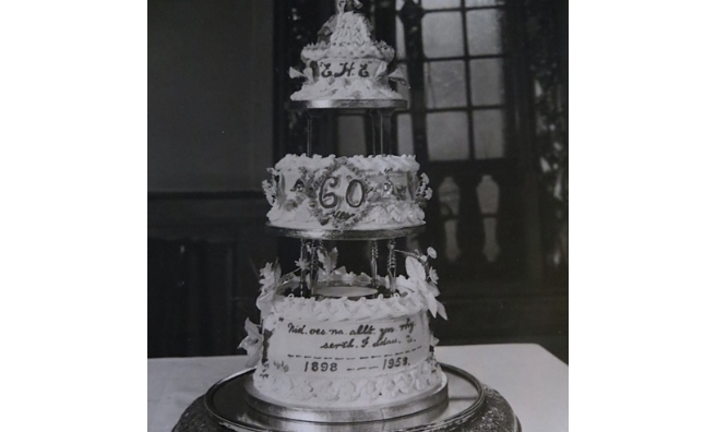 The cake baked by Mrs Thompson for a party at The Dumbuck celebrating 60 years of marriage