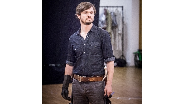 Norman during rehearsals for Henry V. Photo by Marc Brenner