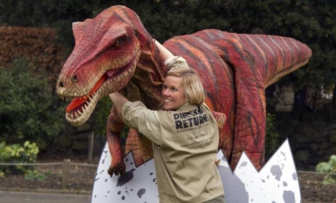 Velma The Velociraptor with keeper Cheryl-Ann Beattie