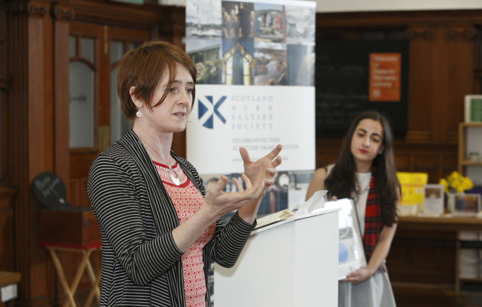 Inductee Karine Polwart speaks at the OWS 2015 event