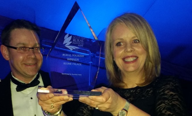 Gregor Cameron and Margo Baird of Scone Palace with the Rural Tourism Award
