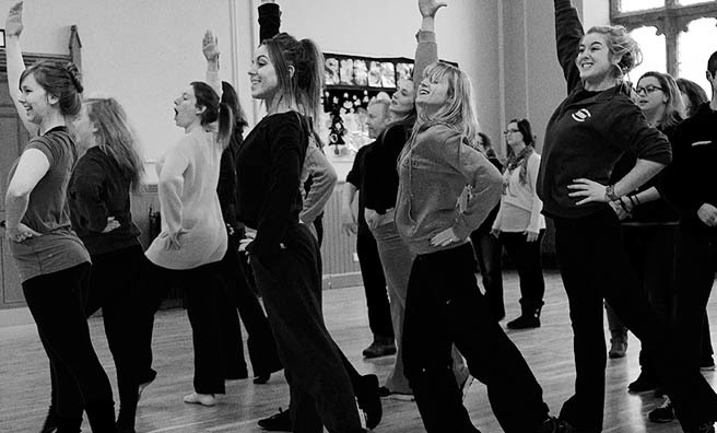 The cast of Chess hard at work in rehearsals. Image: Ian Fallon.