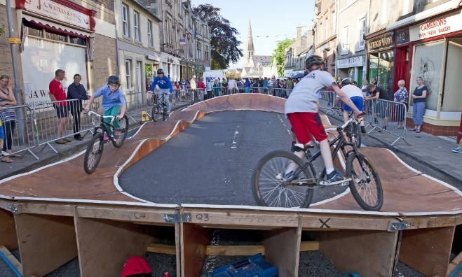 The Pump Track at the Selkirk Bike Festival - right in the centre of town! Pic by Ian Linton