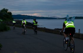 Cycling along the edge of the Forth in darkness