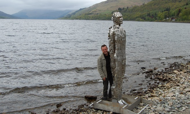 Ready to return to the Loch - Rob Mulholland stands by his sculpture, Still. Photo courtesy of Rob Mulholland