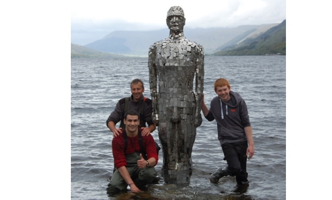 Some of the team who helped Still regain his spot in Loch Earn. Photo by Rob Mulholland