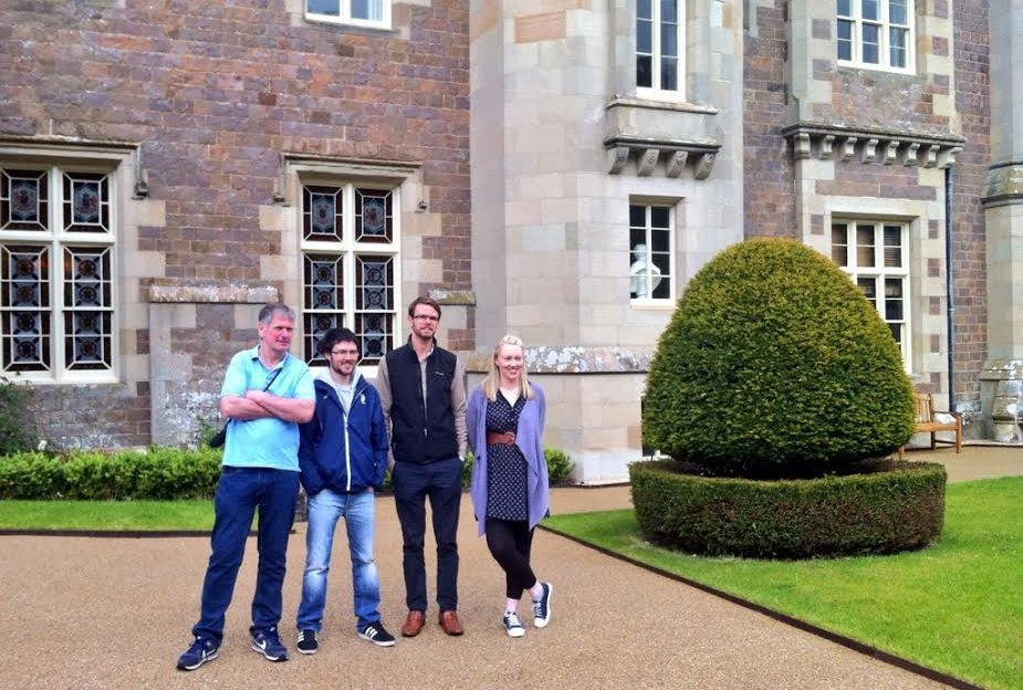 Dougie, Neil, Kim and Susanne of the Scotlanders outside Abbotsford House