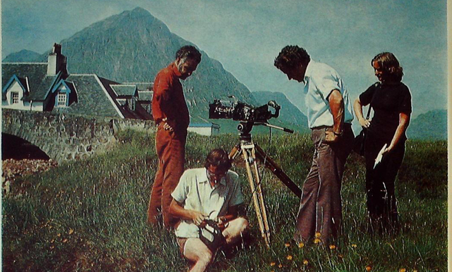 Tom Weir at Kingshouse, Argyll with the Weir's Way camera crew