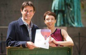 Book Festival Directors Nick Barley and Janet Smyth with the 2015 brochure. Photo courtesy of Edinburgh International Book Festival